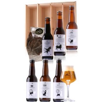 Liefhebbers Bierpakket Uniek Veluwe bier, 6 flesjes met glas, beef yerkey van Ter Weele in houten kist