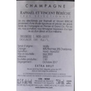 Champagne Extra Brut Grand Cru 'Montagne' 2002, Raphaël & Vincent Bérèche