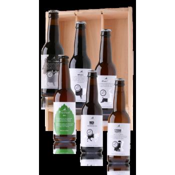 Bierpakket Uniek Veluwe bier, 6 flesjes in houten kist