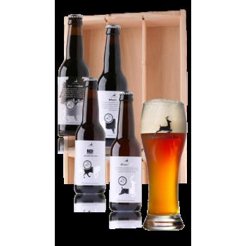 Bierpakket Uniek Veluwe bier, 4 flesjes en 1 bierglas in houten kist