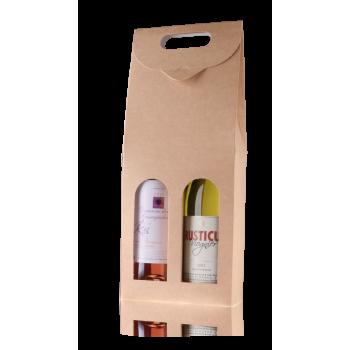 Luxe draagkarton naturel voor 2 flessen