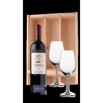 fles Ceppitaio in houten kist, compleet met 2 wijnglazen
